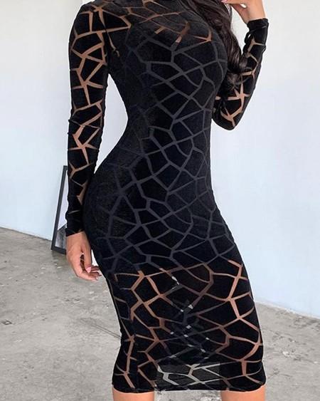 Crack Trim Mesh Midi Dress
