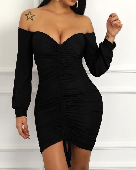 boutiquefeel / Off Shoulder Lantern Sleeve Drawstring Design Dress