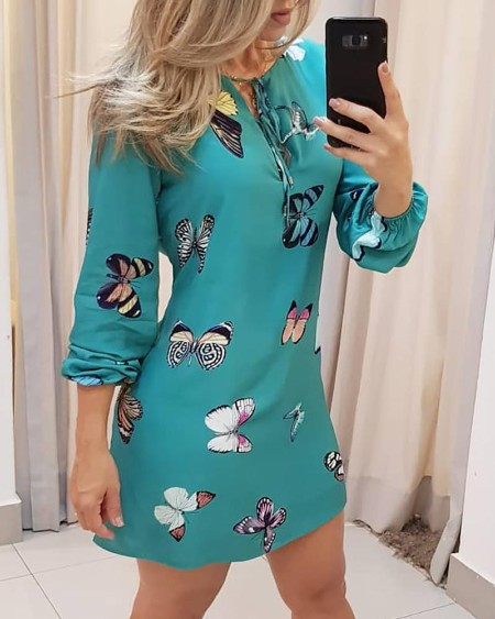 Butterfly Print Tie Front Long Sleeve Dress