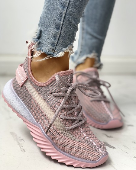 boutiquefeel / Net Surface Breathable Lace-Up Yeezy Sneakers