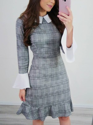 Grid Bell Sleeve Ruffle Hem Bodycon Dress