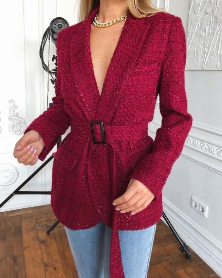 Tweed Long Sleeve Plain Blazer Coat