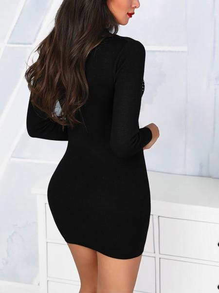 Hot Stamping & Mesh Insert Bodycon Dress