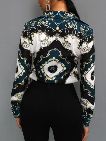 Long Sleeve Scarf Print Casual Shirt