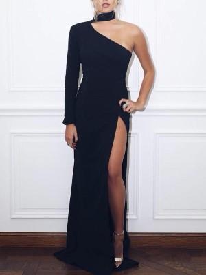 Choker One Shoulder High Slit Party Dress