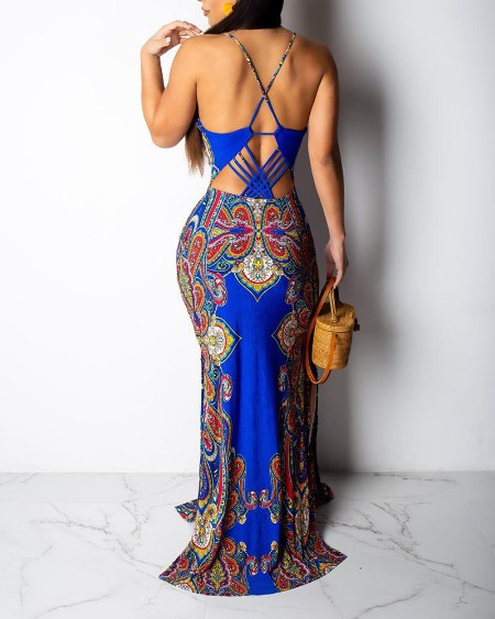 Retro Print Cutout Crisscross Backless Maxi Dress