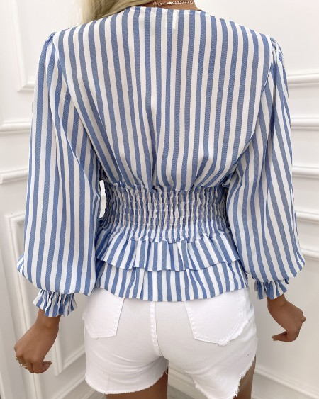 Striped Puff Sleeve Shirring Waist Top
