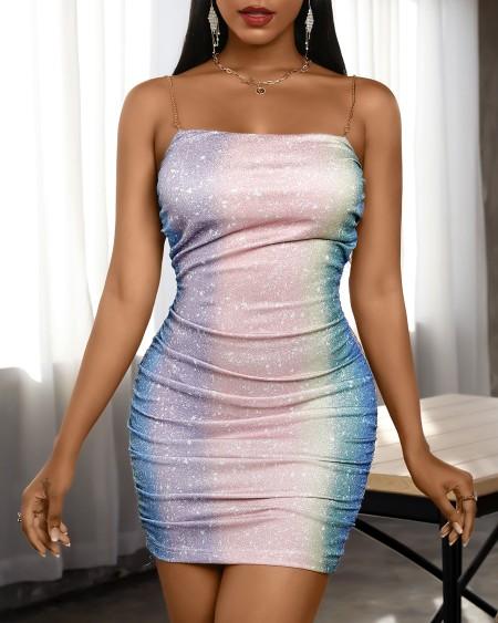 Colorblock Glitter Spaghetti Strap Ruched Bodycon Dress