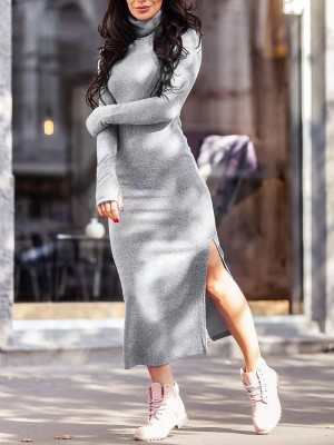 High Neck Long Sleeve Slit Sweater Dress