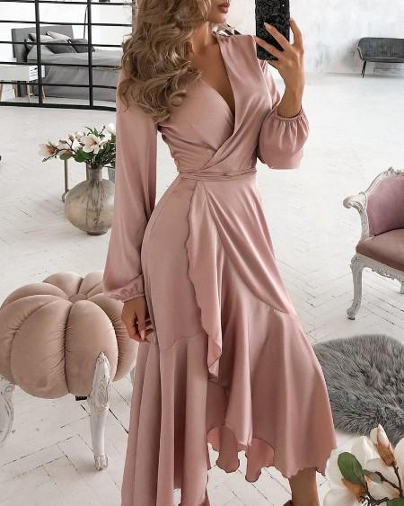 Ruffles Lantern Sleeve Casual Dress