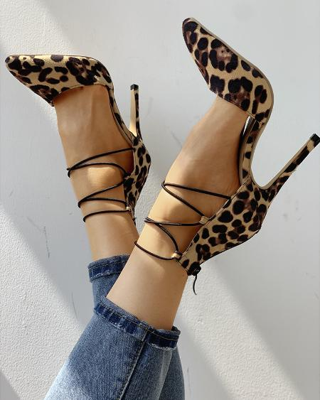 boutiquefeel / Leopard Print Point Lace-Up Toe Thin Heels
