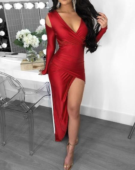High Slit Ruched Colid Shoulder Dress