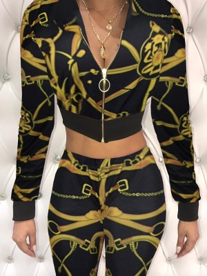 Stylish Print Zipper Up Cropped Slinky Pantsuit