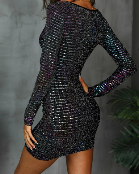Surplice Front Colorful Sequin Party Dress