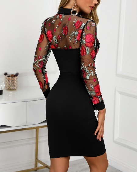 Sheer Mesh Floral Embroidery Bodycon Dress