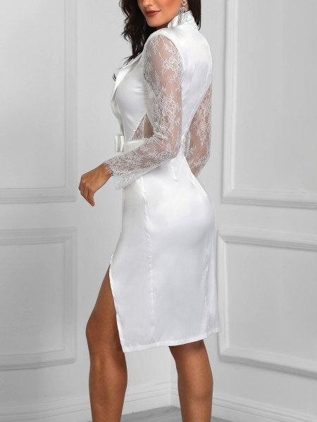 Solid Lace Splicing Slit Bodycon Dress