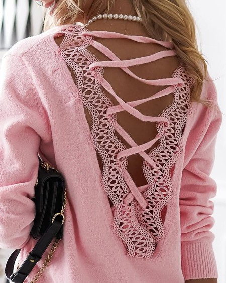 Strappy Guipure Lace Plain Sweater