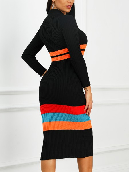Colorful Striped Long Sleeve Sweater Dress