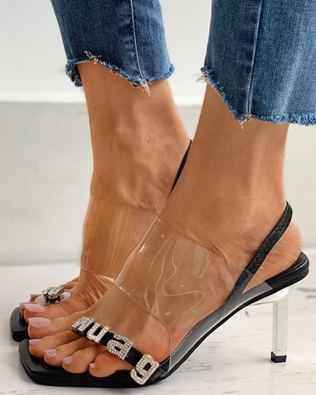 Letter Pattern Clear Perspex Stiletto Heel