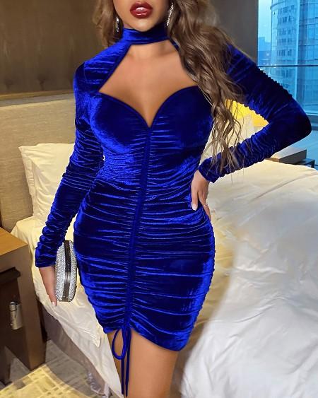 Velvet Mock Neck Cutout Ruched Bodycon Dress