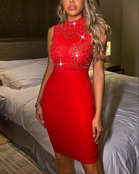 Diamante Trim Design Bodycon Dress