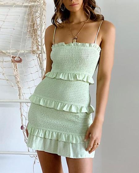 Shirring Detail Cami Mini Dress