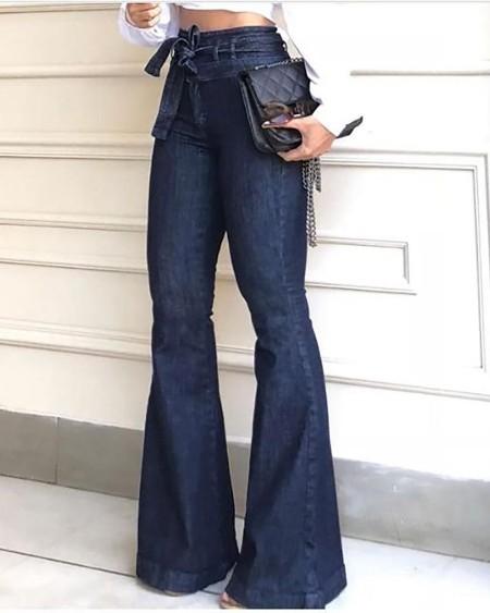 Denim High Waist Bell-Bottom Jeans