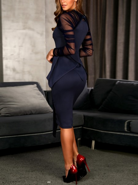 Mesh Sleeve Peplum Irregular Dress