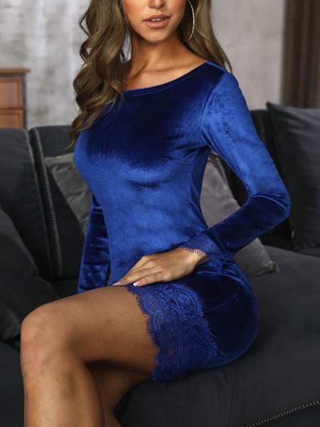 Velvet Lace Splicing Long Sleeve Bodycon Dress