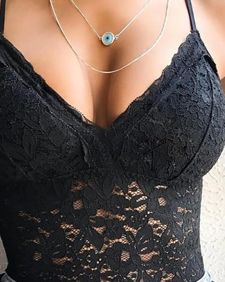 Spaghetti Strap Black Lace Cami Top