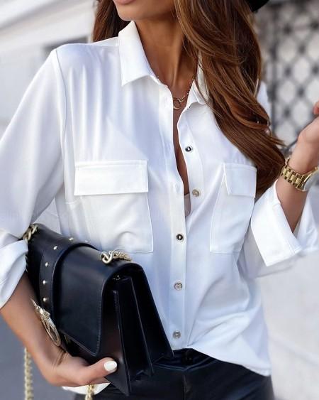 Plain Turn-down Collar Long Sleeve Shirt