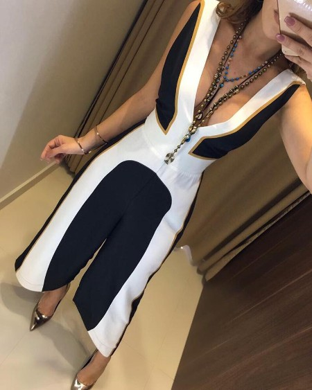 Sleeveless Plunge Contrast Color Jumpsuits