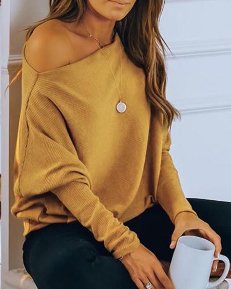 Plain Long Sleeve Casual Top