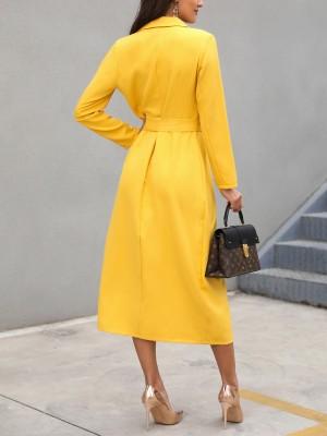 Solid Self Belted Slit Blazer Dress