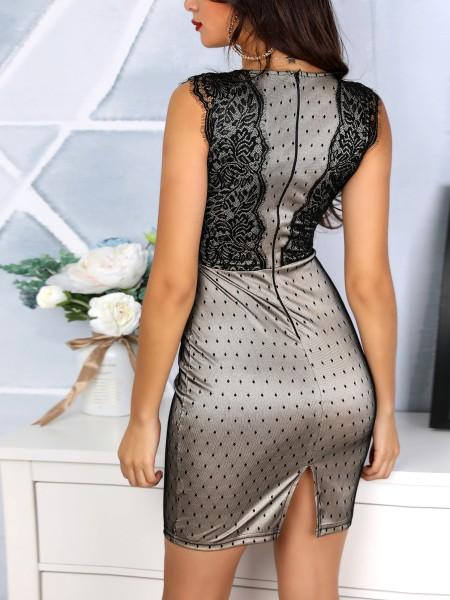Contrast Lace Slit Back Dots Pencil Dress