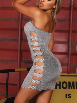 Glittering Ladder Cut Out Bandeau Dress