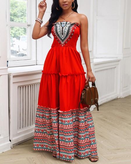 Bandeau Tribal Print Shirring Design Ruffles Maxi Dress