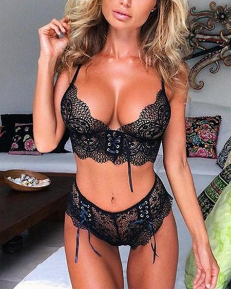 Solid Lace Bowknot Strap Bra With Panties Sexy Sets