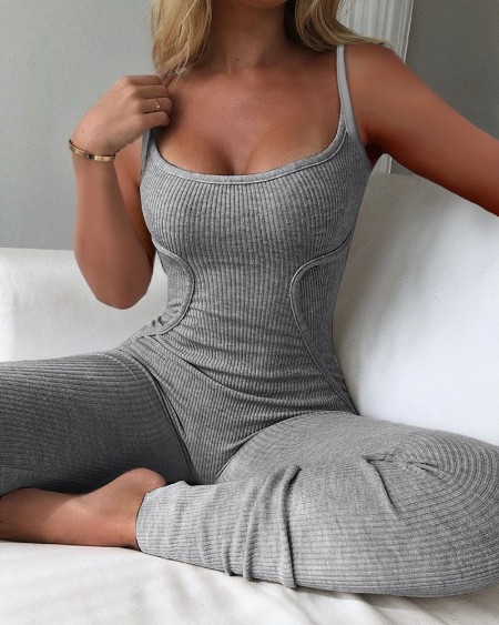 Plain Spaghetti Strap Ribbed Jumpsuit