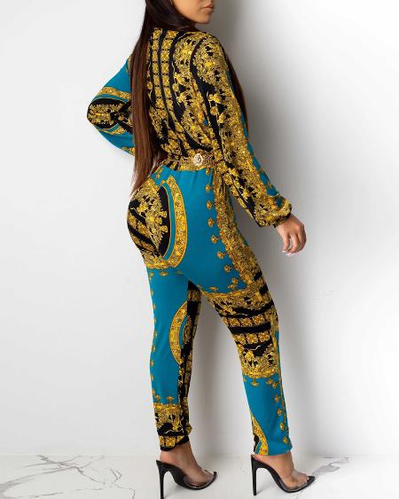 boutiquefeel / Turn-down Collar Retro Print Long Sleeve Jumpsuit
