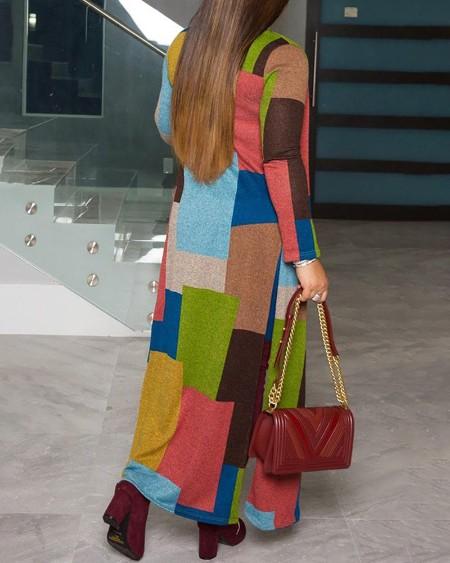 Colorblock Long Sleeve Casual Longline Coat