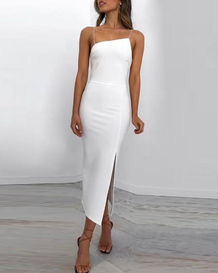 Spaghetti Strap Slit Bodycon Dress