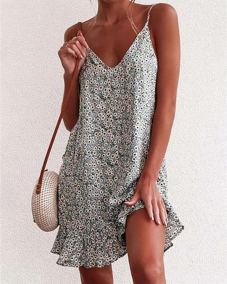 Spaghetti Strap Floral Print Backless Dress