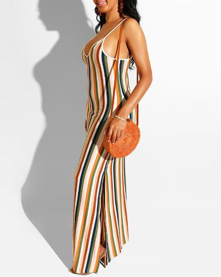 boutiquefeel / Sling Striped Slit Maxi Dress