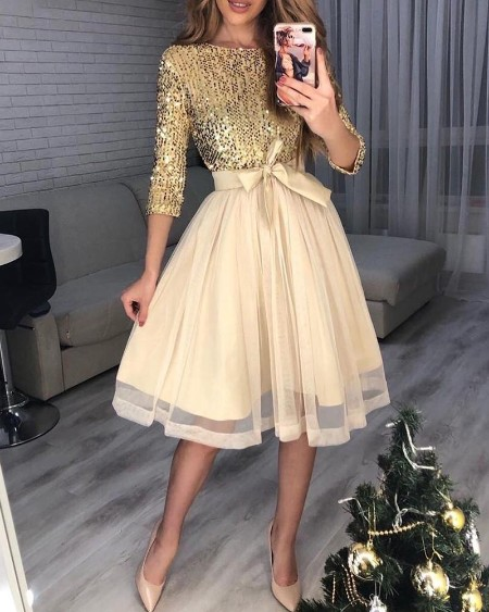 boutiquefeel / Sequins Tight Waist Layered Mesh Dress