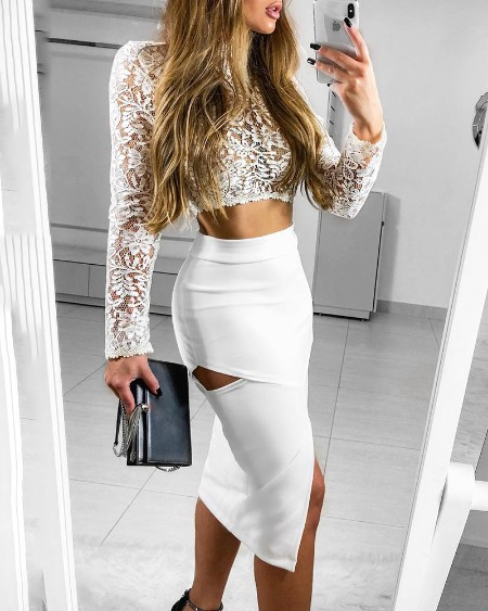 Sheer Lace Top & Cutout Slit Skirt Set