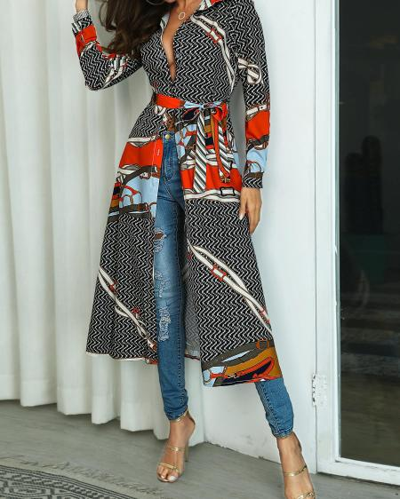 boutiquefeel / Mixed Print Long Sleeve Belted Longline Coat