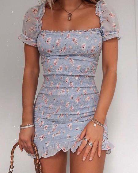 Floral Print Ruffle Trim Mini Dress