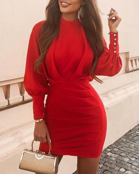 Solid Lantern Sleeve Ruched Bodycon Dress