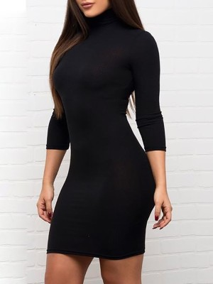 Fashion High Neck Bodycon Dress